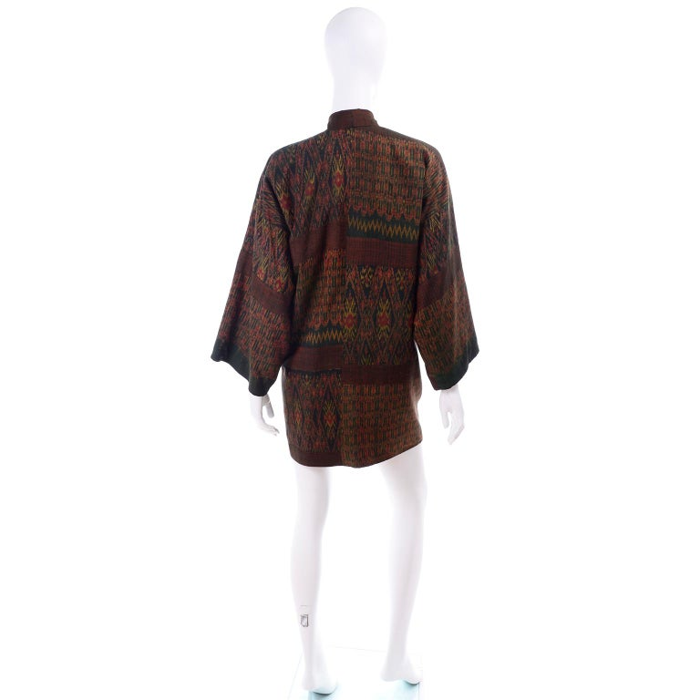 Vintage Japanese Ikat Jacket in Metallic Bronze and Green Linen  In Excellent Condition For Sale In Portland, OR
