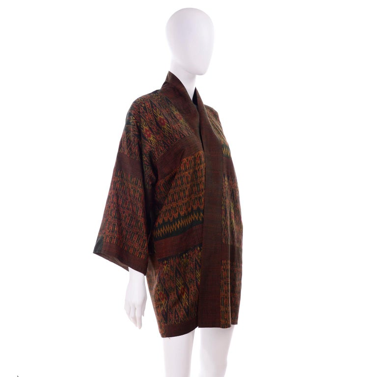 Women's or Men's Vintage Japanese Ikat Jacket in Metallic Bronze and Green Linen  For Sale