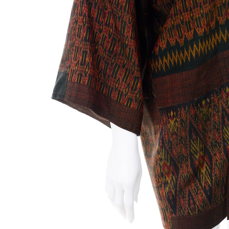 Vintage Japanese Ikat Jacket in Metallic Bronze and Green Linen  For Sale 1