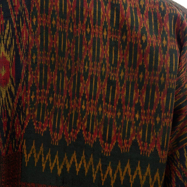 Vintage Japanese Ikat Jacket in Metallic Bronze and Green Linen  For Sale 2