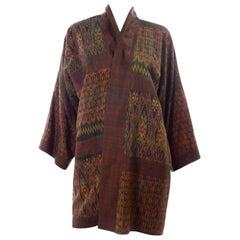 Vintage Japanese Ikat Jacket in Metallic Bronze and Green Linen
