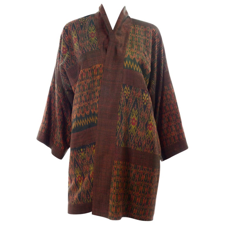 Vintage Japanese Ikat Jacket in Metallic Bronze and Green Linen  For Sale