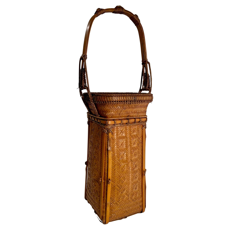 Vintage Japanese Ikebana Basket with Arch Handle