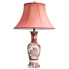 Vintage Japanese Imari Lamp in Red and White