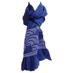 Vintage Japanese Indigo Blue Silk Shibori Obi Scarf