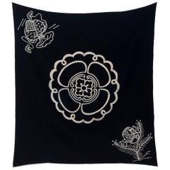 Vintage Japanese Indigo Folk Kamon Textile