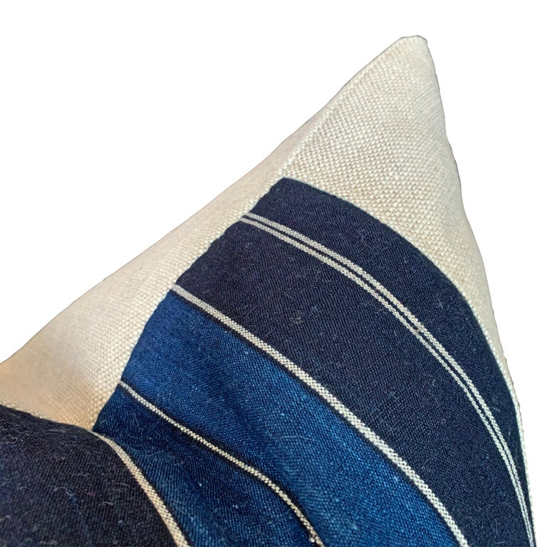 Vegetable Dyed Vintage Japanese Indigo Pillow For Sale