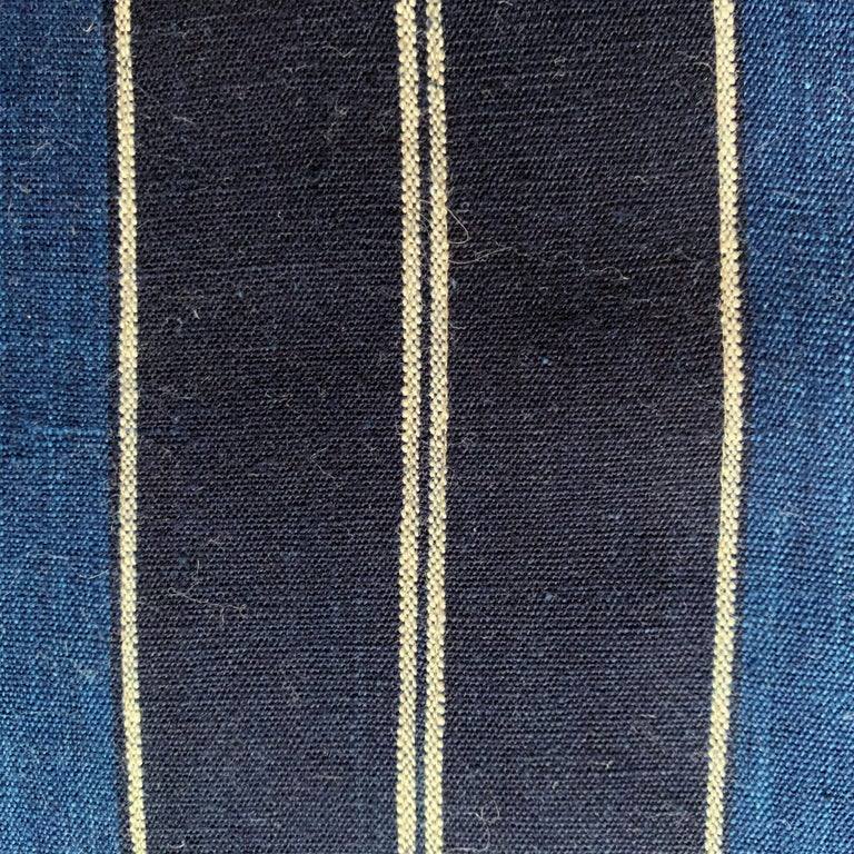 Wool Vintage Japanese Indigo Pillow For Sale
