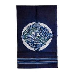 Vintage Japanese Indigo Stencil Dye Fabric