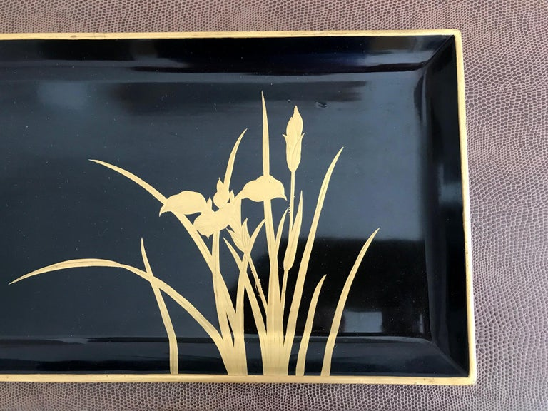 Gilt Vintage Japanese Lacquer Tray For Sale