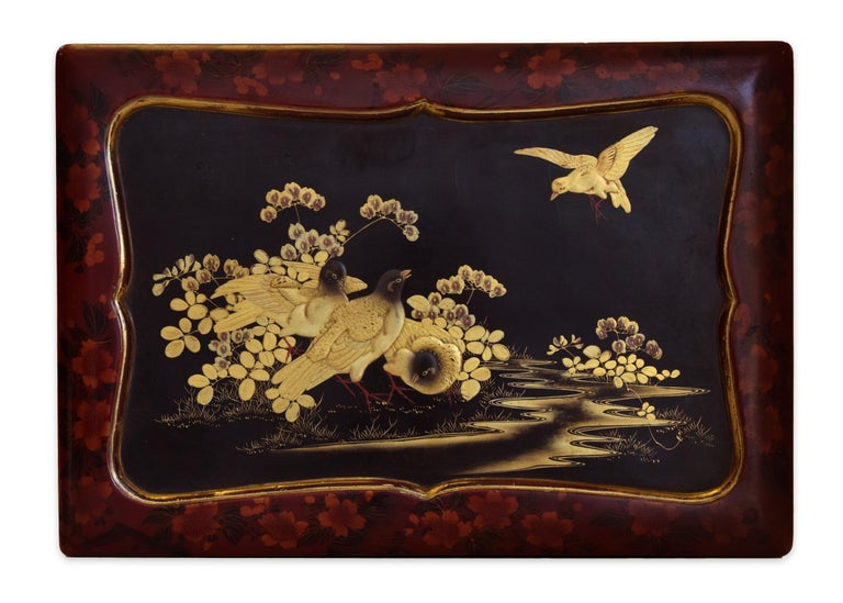 Lacquered Vintage Japanese Lacquer Wood Travel Desk, Early 20th Century For Sale