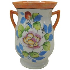 Vintage Japanese Lusterware Orange and Blue Small Vase