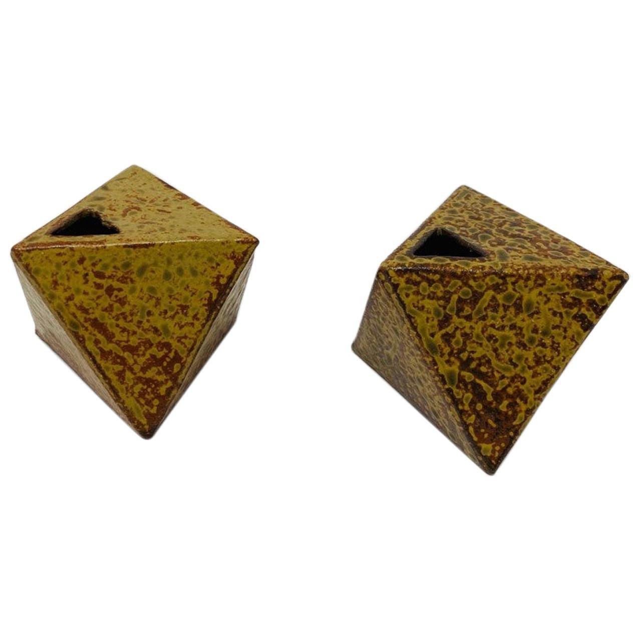 Vintage Ikebana Japanese Midcentury Hexagon Ceramic Bud Vessels