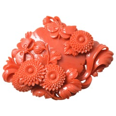 Vintage Japanese Momoiro Sango Carved Coral Plate Butterflies and Chrysanthemum