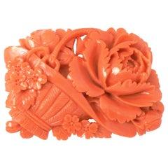 Vintage Japanese Momoiro Sango Carved Coral Plate, Flower Basket