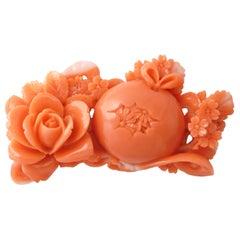 Vintage Japanese Momoiro Sango Carved Coral Plate, Rose and Primrose Flower