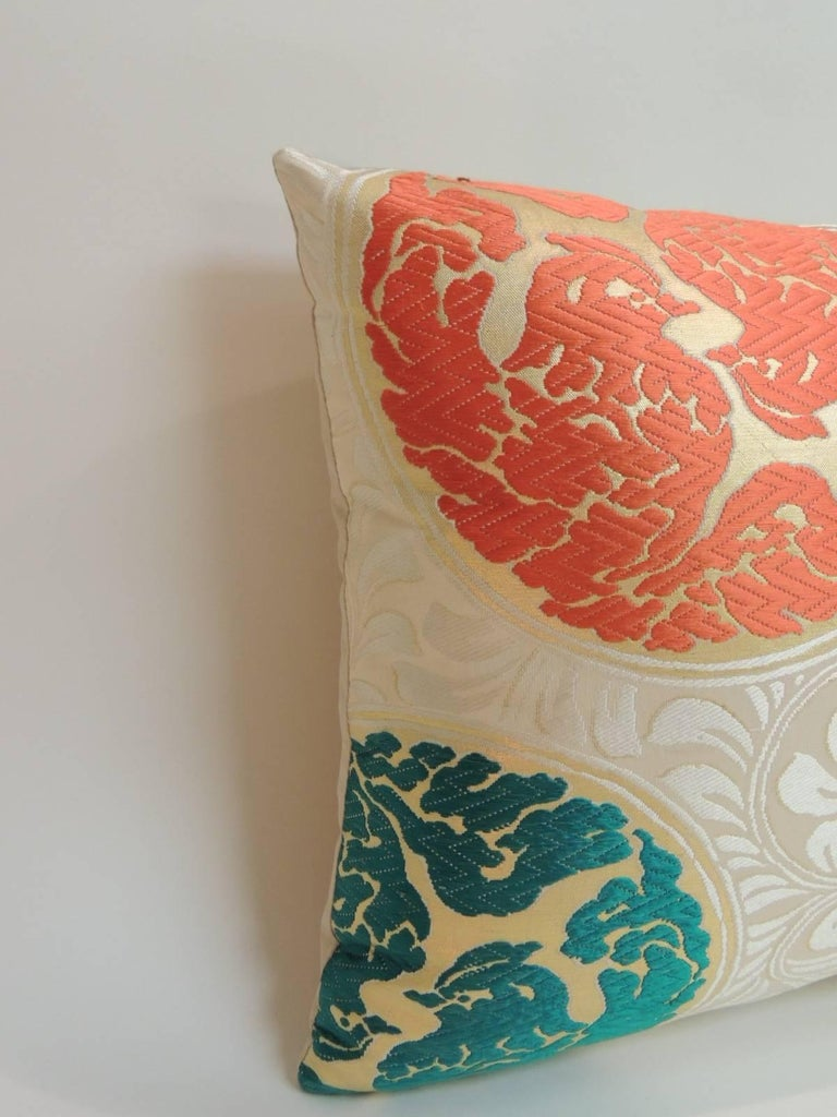 Vintage Orange and Green  Silk Medallions Bolster Obi Decorative Pillow. In shades of green, yellow, orange on a beige foliage pattern. Natural silk backing. Accent bolster pillow handcrafted and designed in the USA.  Throw pillow with custom-made