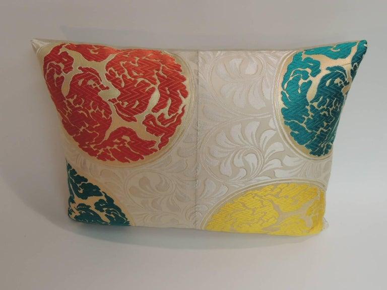 Japonisme Vintage Orange and Green  Silk Medallions Bolster Obi Decorative Pillow  For Sale