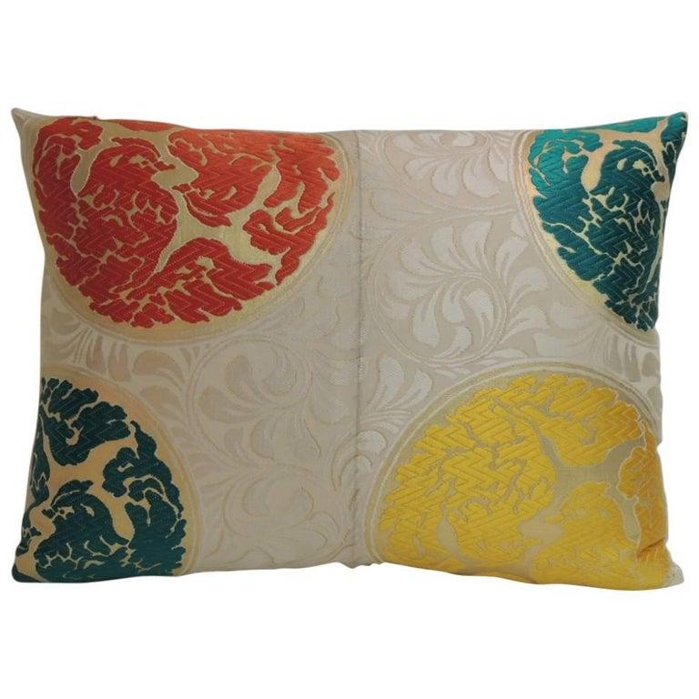 Vintage Orange and Green  Silk Medallions Bolster Obi Decorative Pillow  For Sale