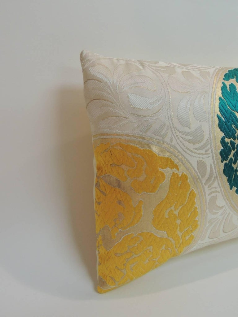 Vintage Orange and Green  Silk Medallions Lumbar Obi Decorative Pillow.  In shades of green, yellow, orange on a beige foliage pattern. Natural silk backing.  Accent bolster pillow hand-crafted and designed in the USA.   Throw pillow with custom