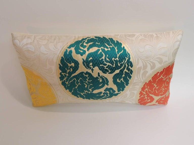 Japonisme Vintage Orange and Green  Silk Medallions Lumbar Obi Decorative Pillow  For Sale