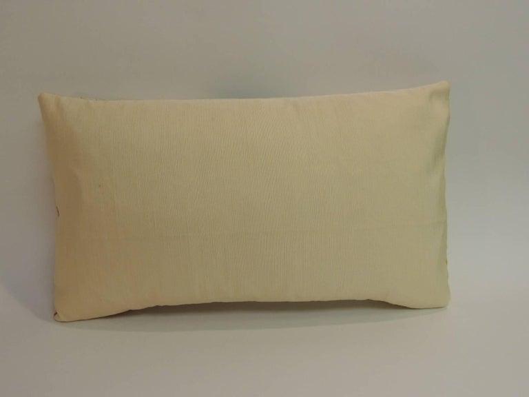Japanese Vintage Orange and Green  Silk Medallions Lumbar Obi Decorative Pillow  For Sale
