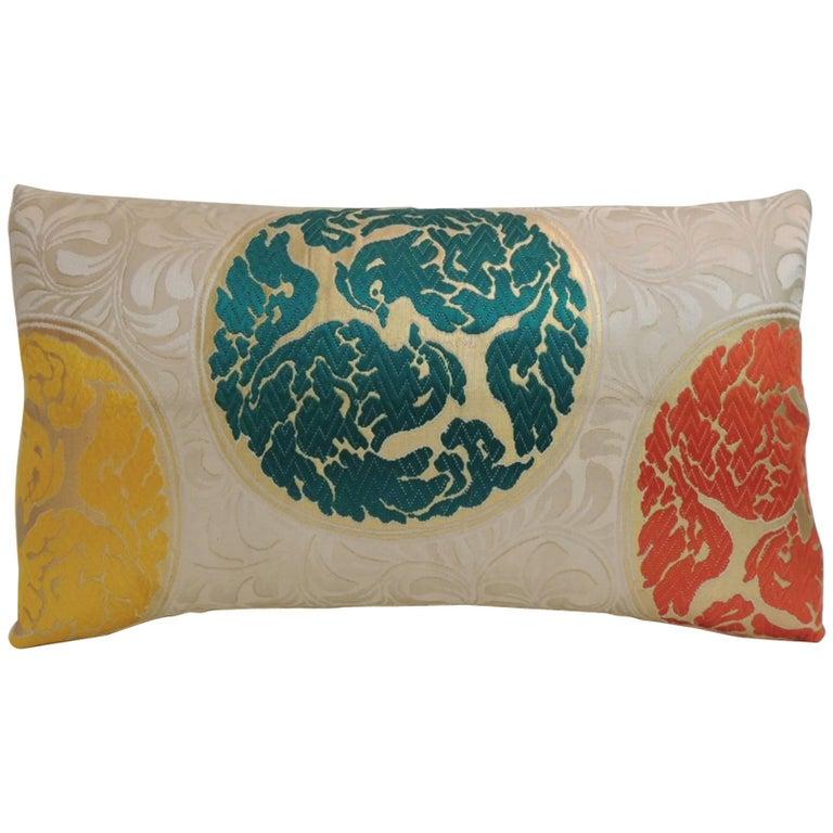 Vintage Orange and Green  Silk Medallions Lumbar Obi Decorative Pillow  For Sale