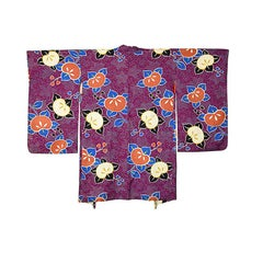 Vintage Japanese Purple Silk Haori with Mandarin Motif, Early 20th Century