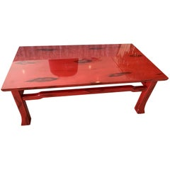 Vintage Japanese Red Lacquered Coffee Table by Ernest C. Masi