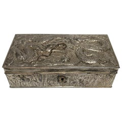 Vintage Japanese Repousse Silver Dragon Keepsake/Jewelry Box