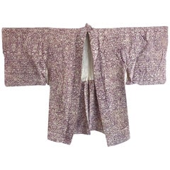 Vintage Japanese Scroll print silk kimono Boho jacket