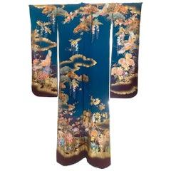 Vintage Japanese Silk Kimono Costume with Designs