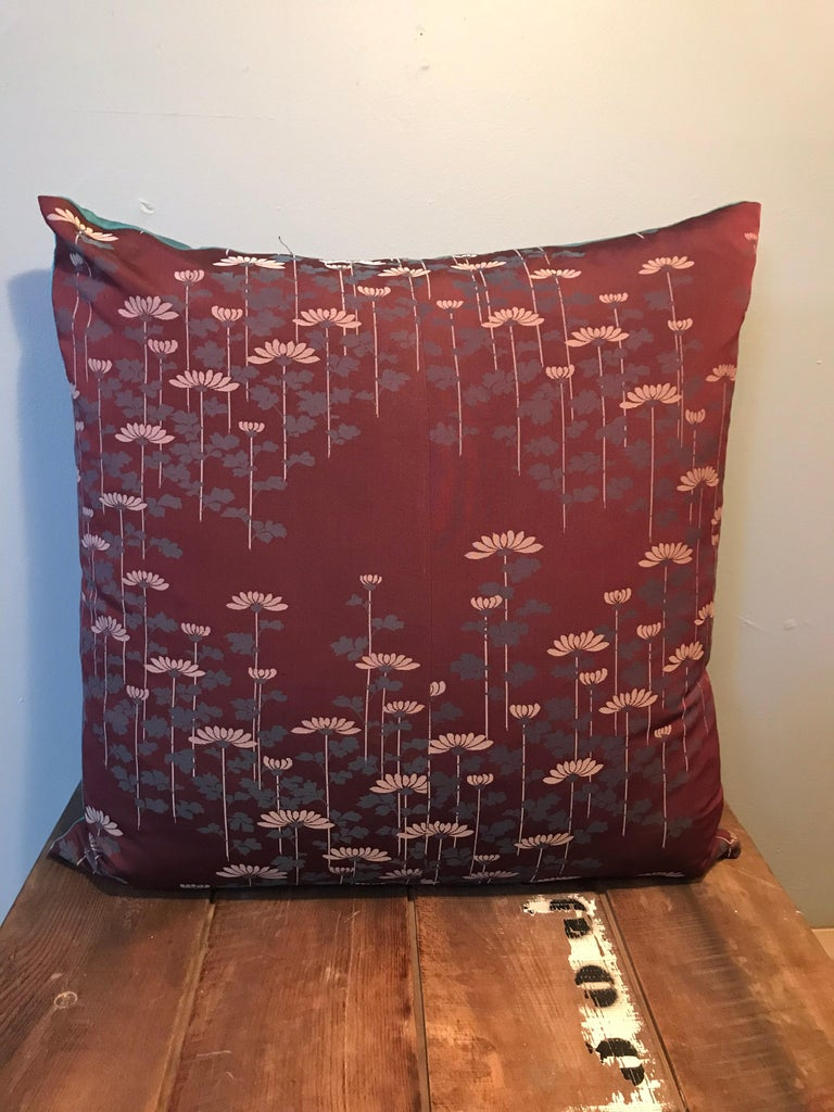 Beautiful and unique set of vintage silk cushions made from a Japanese Kimono.