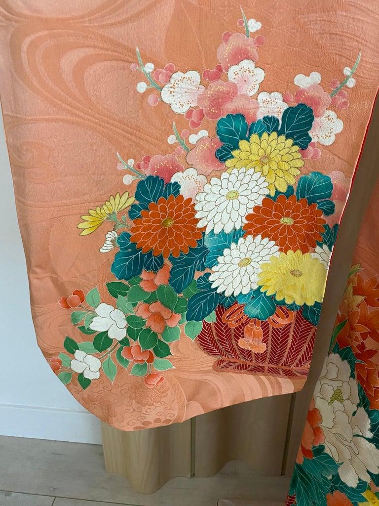 Orange Vintage Japanese Silk Kimono  For Sale
