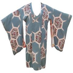 Vintage Japanese Silk Kimono Jacket Robe With Unique Closure