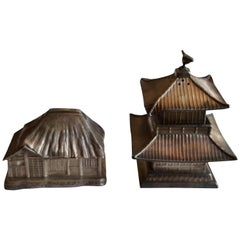Vintage Japanese Sterling Salt and Pepper Shakers Pagoda and Asian Shaker Roof
