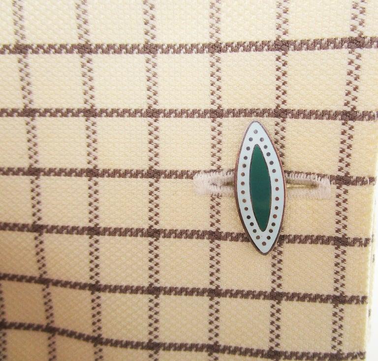 Modernist Vintage Japanese Sterling Silver Bamboo Enamel Cufflinks For Sale