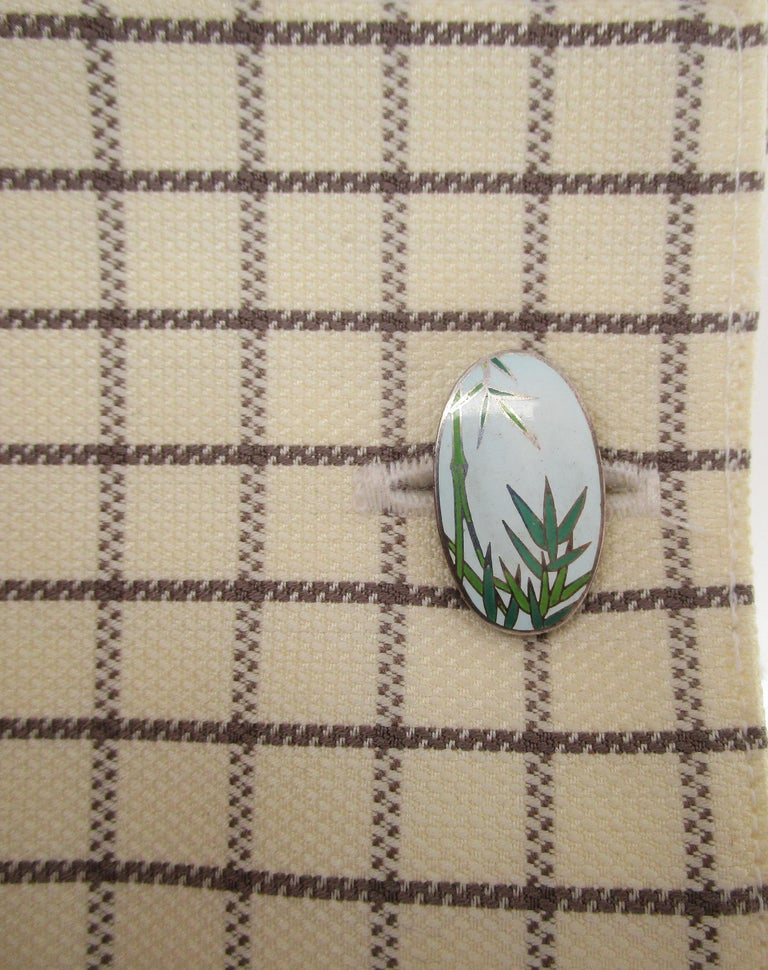 Vintage Japanese Sterling Silver Bamboo Enamel Cufflinks In Good Condition For Sale In Lexington, KY