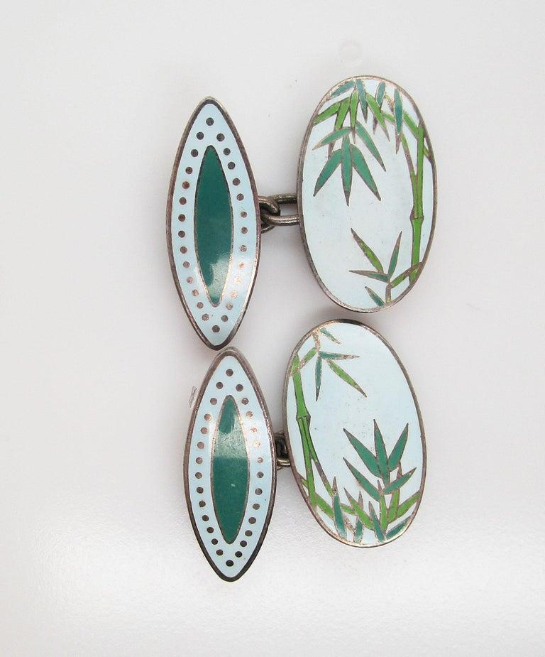 Women's or Men's Vintage Japanese Sterling Silver Bamboo Enamel Cufflinks For Sale