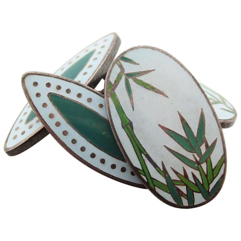 Vintage Japanese Sterling Silver Bamboo Enamel Cufflinks For Sale