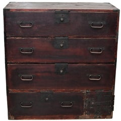 Vintage Japanese Tansu 6-Drawer Chest with Iron Hardware, Meiji Period