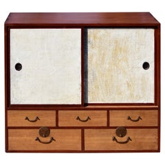 Vintage Japanese Tansu Chest with Five Drawers Sliding Doors