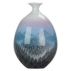 Vintage Japanese Vase Arita, Artist Fujii Shumei Winter Landscape Born 1936