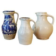Vintage Japanese White Glazed Pitcher Made, Potters of The Onta Pottery Village
