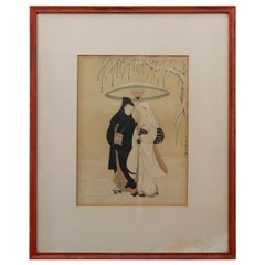 Vintage Japanese Woodblock Print, Crow & Heron, Lovers in a Snow, S. Harunobu