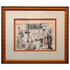 Vintage Japanese Woodblock Print of Bath House with Figures, 20th Century