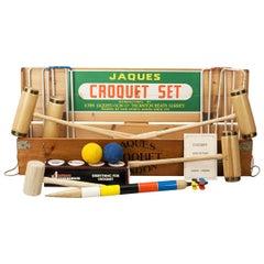 Vintage Jaques Croquet Set, Brass Bound in Pine Box
