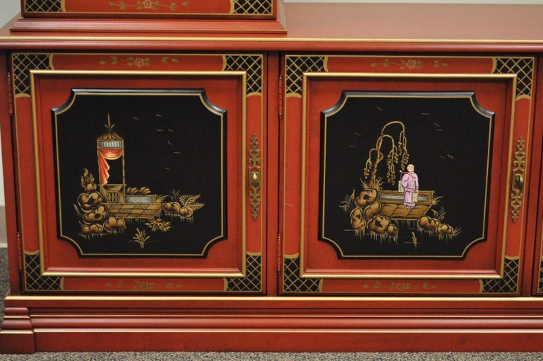 Vintage Jasper Oriental Chinoiserie Red Display China