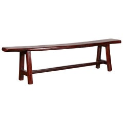 Vintage Javanese A-Frame Rustic Bench with Dark Patina and Cross Stretcher