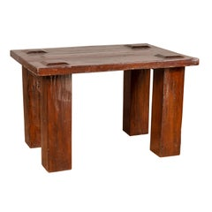 Vintage Javanese Midcentury Wooden Bench with Raised Motifs and Straight Legs